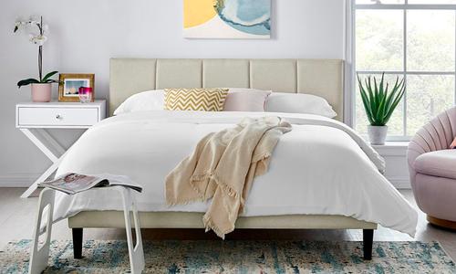 Beige   harper upholstered bed with headboard 3012   web1