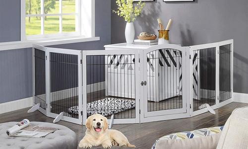 Modern pets wooden dog pen   six panel pet gate 2944   web2