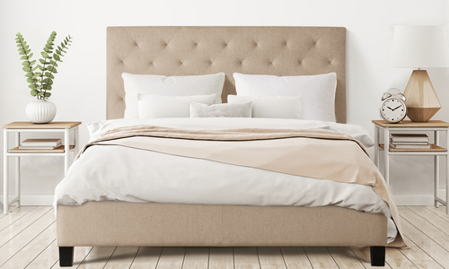 Natural   fabric bed frame with button headboard 416   web1