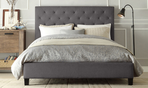 Slate   fabric bed frame with button headboard   web1
