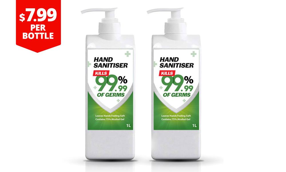 Hand sanitiser 1l   two bottles 7.99  web1