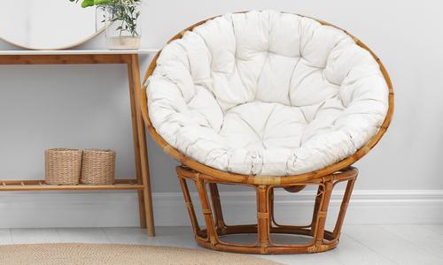 Papasan chair round base white cushion 2404   web1