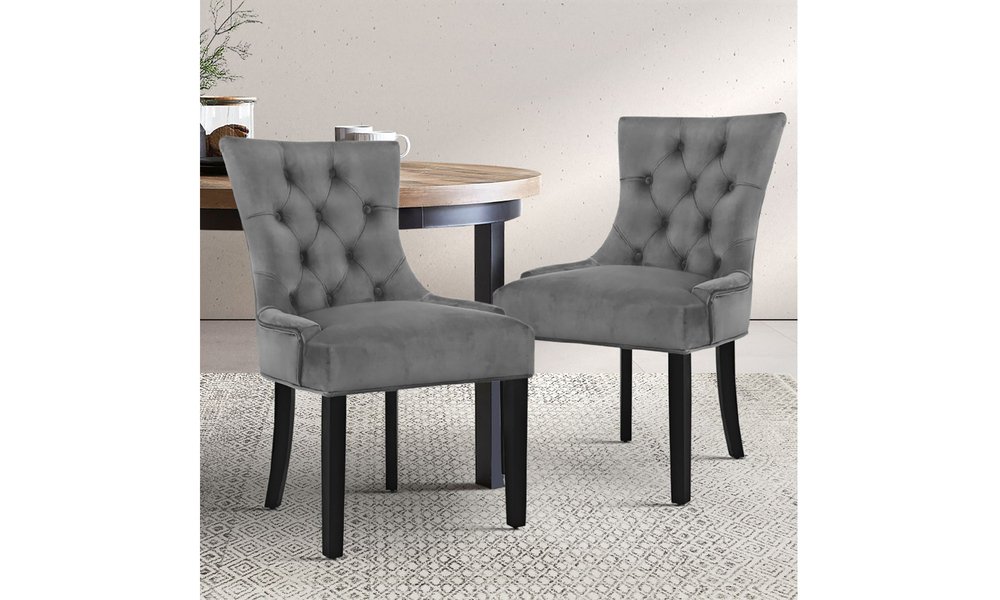 Set of 2 velvet french provincial dining chairs 3647   web6