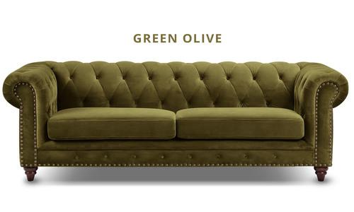 Green olive   kensington velvet button 3 seater sofa   web1