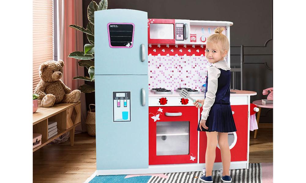 Keezi kids wooden pretend kitchen set 3662   web3