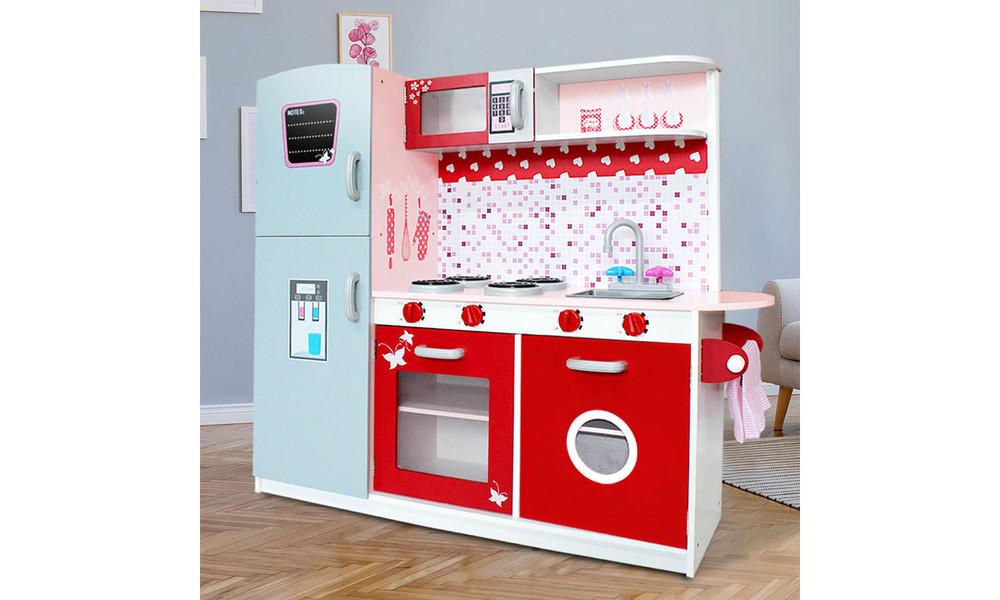 Keezi kids wooden pretend kitchen set 3662   web4