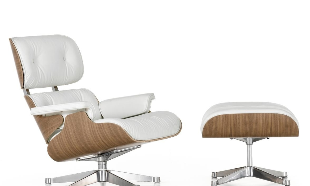 Container Door Ltd | White Replica Eames Lounge Chair & Ottoman #6