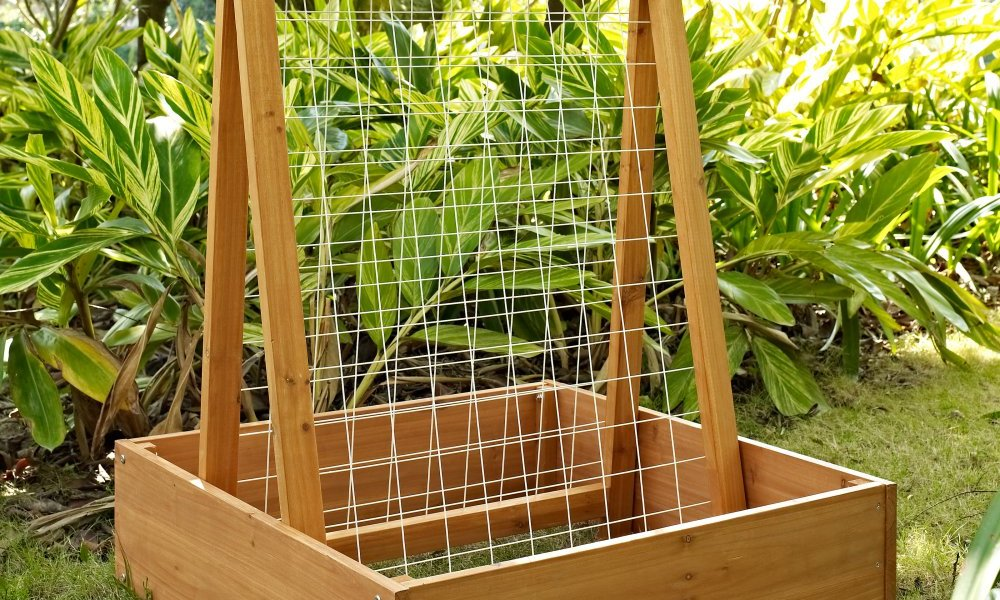 Container Door Wooden Planter Box With Trellis