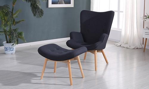 706 modern wingback armchair   ottoman graphite