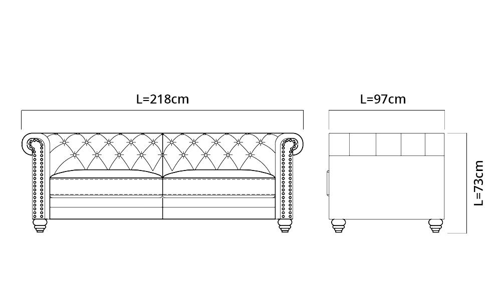Container Door Ltd Lexington 3 Seater Leather Chesterfield Sofa