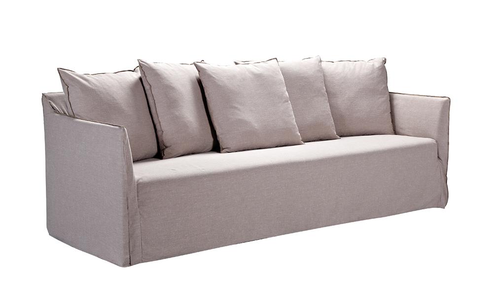 Container Door Ltd Riviera 3 Seater Linen Sofa Natural 2