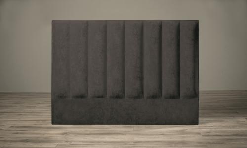 Velvet vertical headboard grey