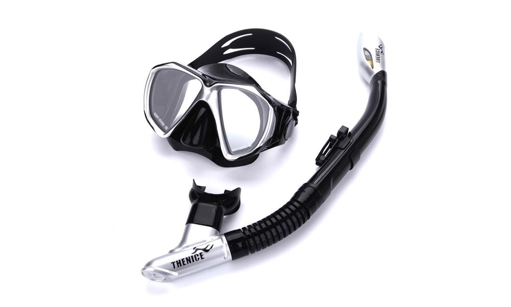 Snorkel mask   fin set black web