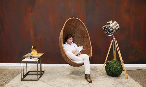 Rattan style hanging egg chair natural web
