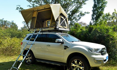 Auto pop up roof top tent with telescopic ladder web 1