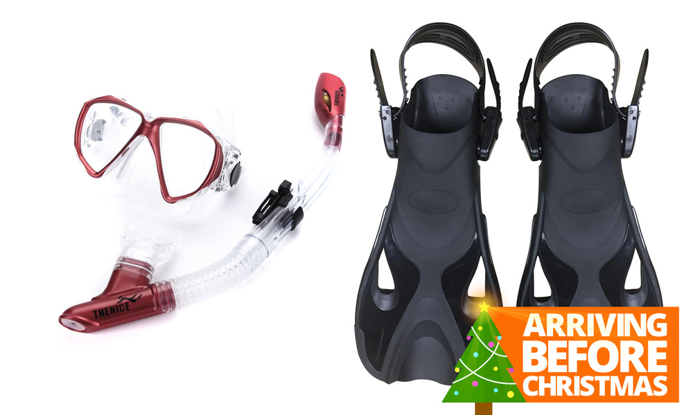 Snorkel mask   fin set   red   xmas