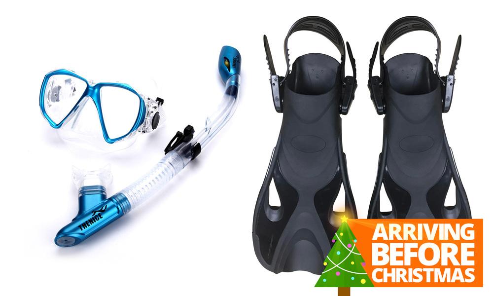 Snorkel mask   fin set   blue   xmas