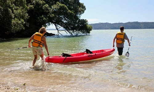 Kayak double being launched