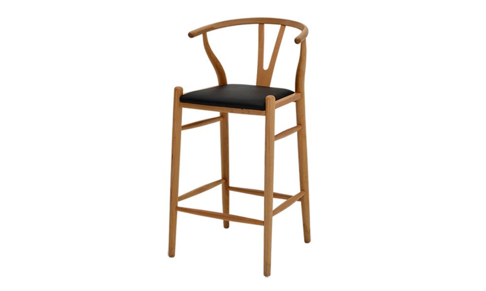 Replica hans wegner wishbone barstool w. pu seat   web1