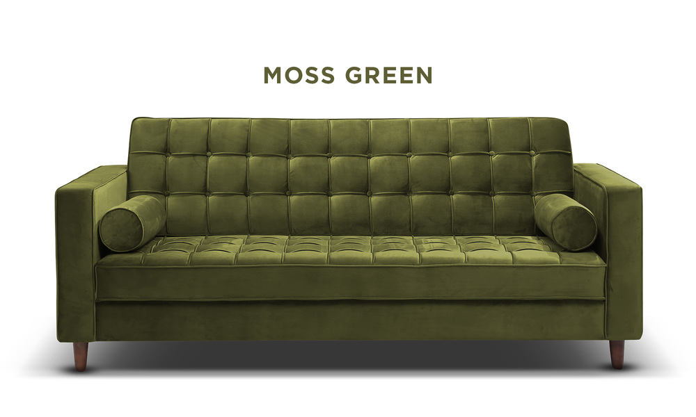 Moss green   knightly velvet couch   web1