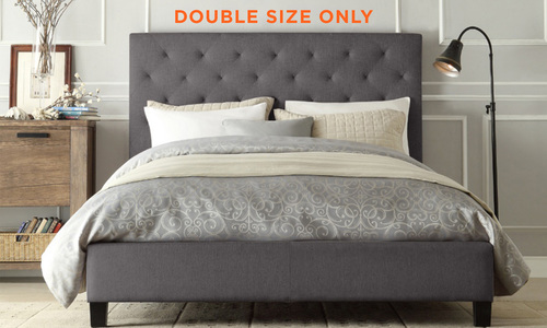 Double   fabric bed frame with button headboard   web1