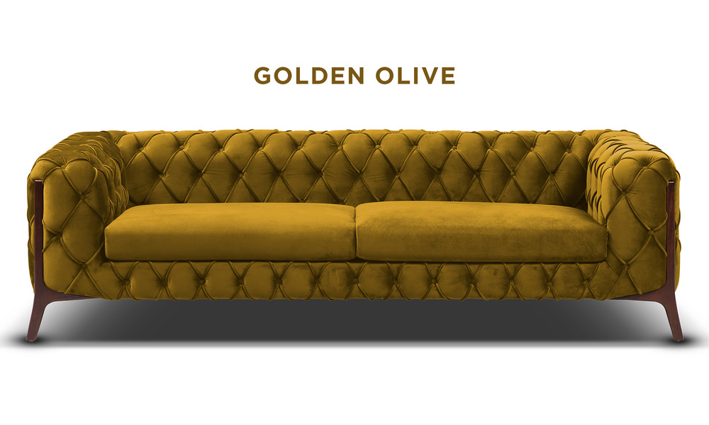 Golden olive   diablo velvet button 3 seater sofa   web1