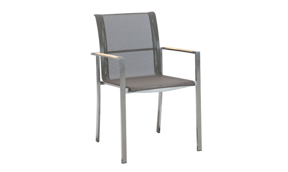 Teak   stainless steel chair with arms   batyline   1346  web1