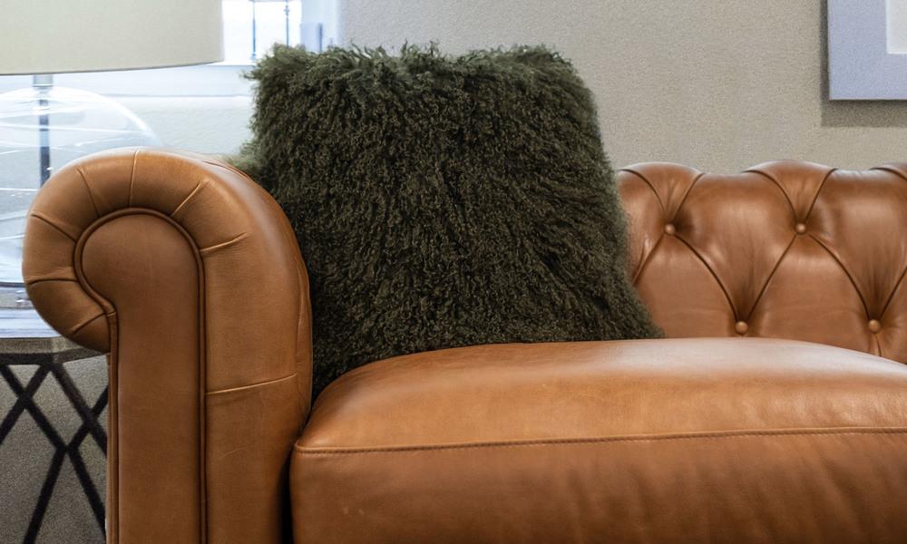 Green   tibetan sheepskin cushion   1320  web1