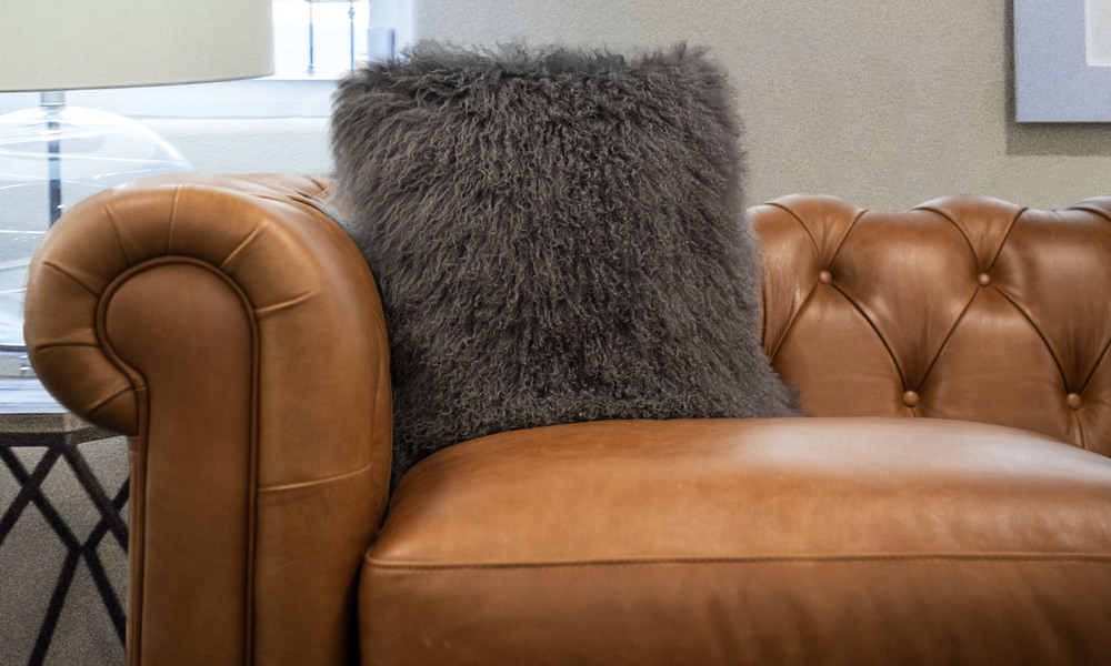 Grey   tibetan sheepskin cushion   1320  web1