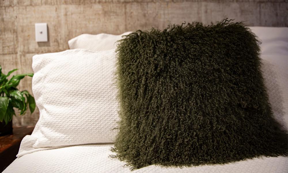 Green   tibetan sheepskin cushion   1320  web2