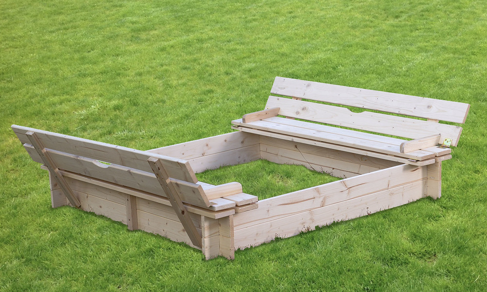 Wooden sandpit with seats   cover   1397  web2