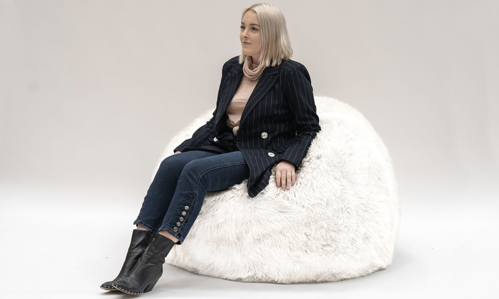 White sheepskin beanbag