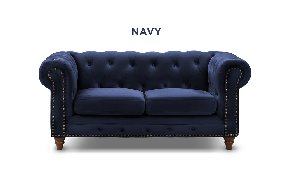 Navy   kensington velvet button 2 seater sofa   web1