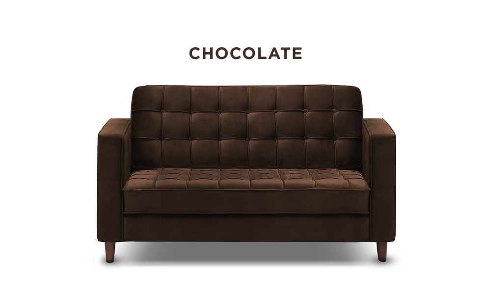 Chocolate   knightly velvet 2 seater couch   web1