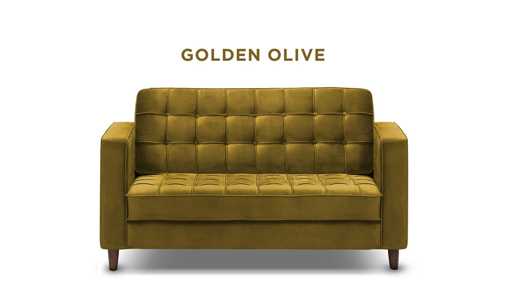 Golden olive   knightly velvet 2 seater couch   web1