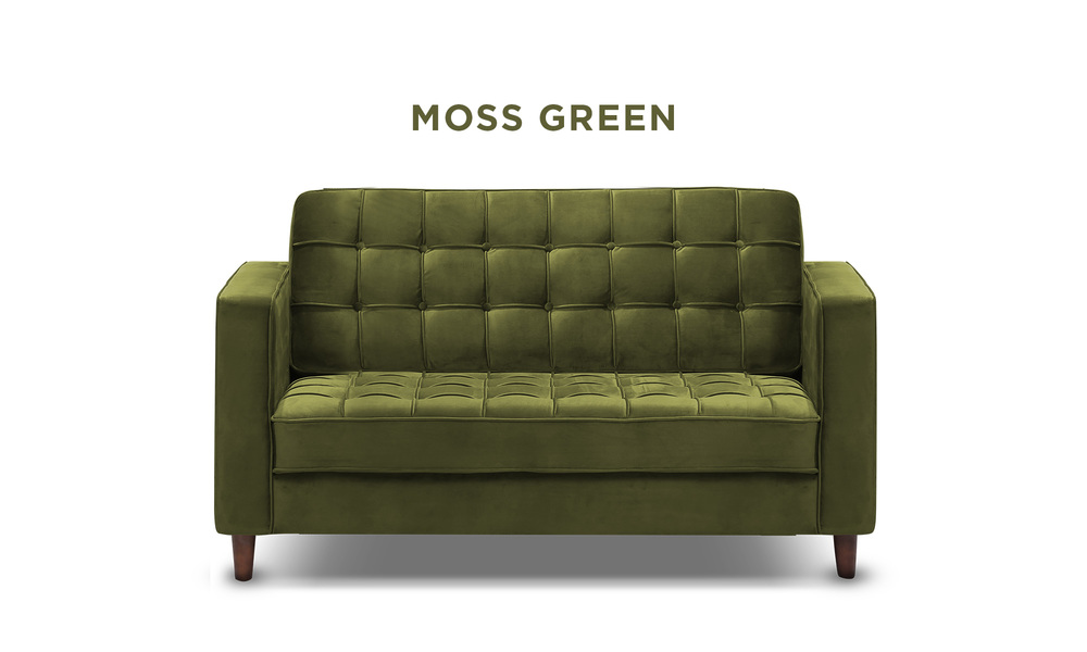 Moss green   knightly velvet 2 seater couch   web1