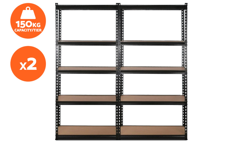 Set of 2   giantz 5 tier industrial shelving unit   web2