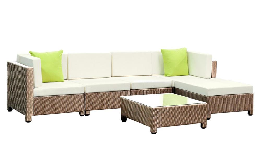 Gardeon 6 piece outdoor wicker sofa set   brown   web1