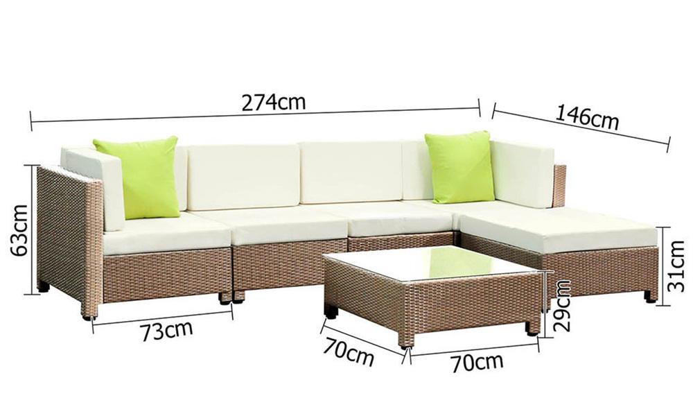 Gardeon 6 piece outdoor wicker sofa set   brown   web2