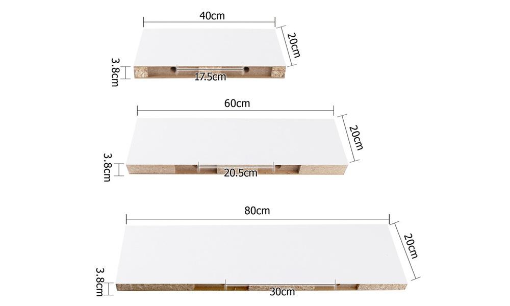 Artiss 3 piece floating wall shelves   web3