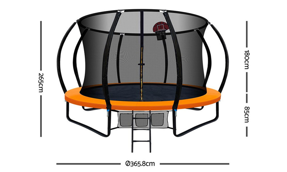 Everfit 12ft trampoline with basketball hoop   web2