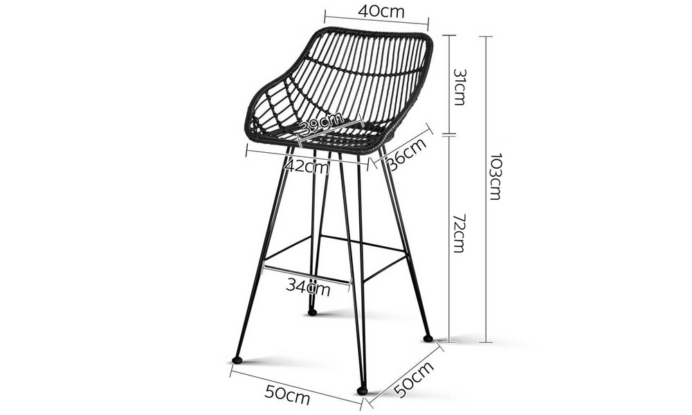 Black   artiss set of 2 pe wicker bar stools   web2