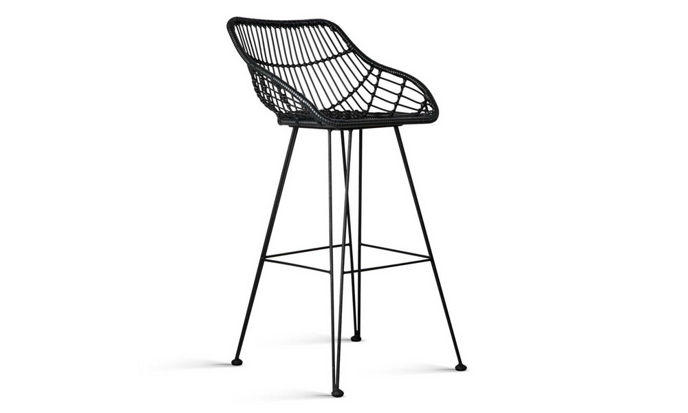 Black   artiss set of 2 pe wicker bar stools   web4
