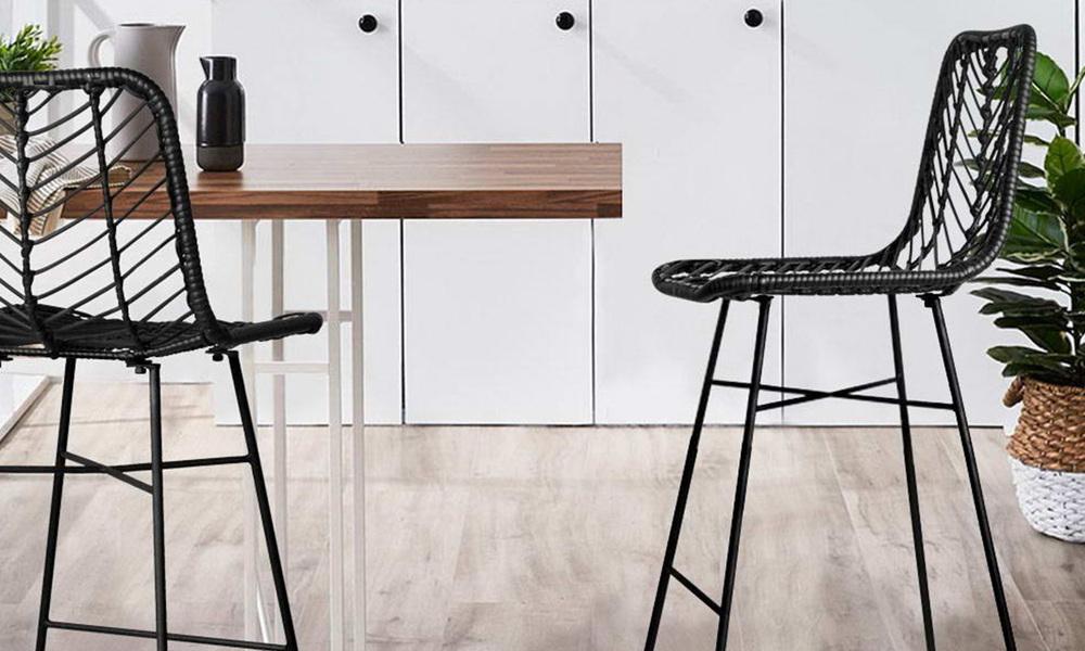 Black   artiss set of 2 chevron pe wicker bar stools   web1