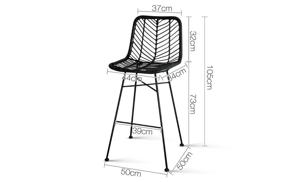 Black   artiss set of 2 chevron pe wicker bar stools   web2