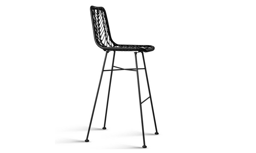 Black   artiss set of 2 chevron pe wicker bar stools   web3