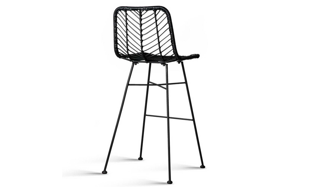 Black   artiss set of 2 chevron pe wicker bar stools   web4