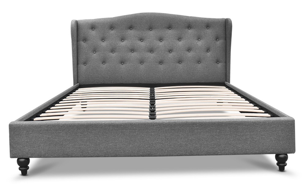 Artiss wooden upholstered bed frame with tufted headboard   web3