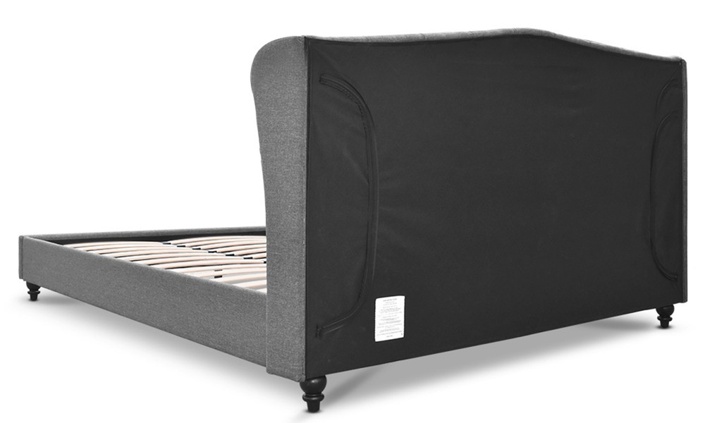 Artiss wooden upholstered bed frame with tufted headboard   web5