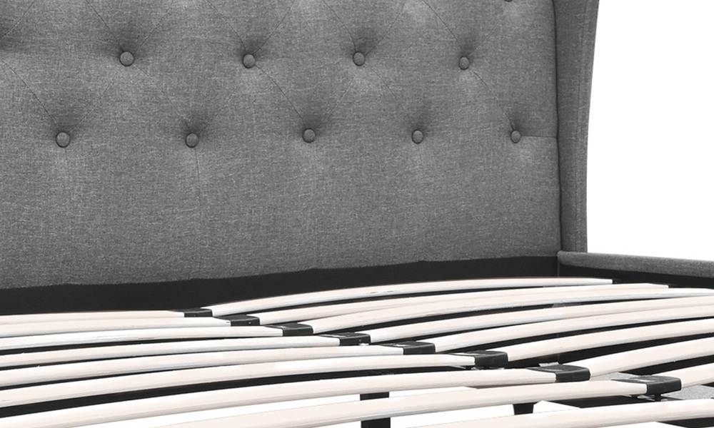 Artiss wooden upholstered bed frame with tufted headboard   web9